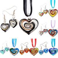 Silver Heart Lampwork Murano Glass Bead Pendant Earrings Ribbon Necklace Set