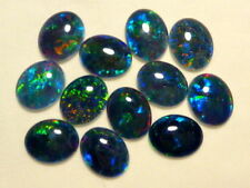 VERY UNUSUAL 6x4mm OVAL CABOCHON-CUT BLACK OPAL TRIPLET GEMSTONE