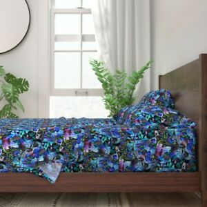 Iris Orchids Purples Blues 100% Cotton Sateen Sheet Set by Roostery