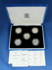 2003 - 2007 Silver Proof £1 coin x 5 Set in Case with COAs    (AG3/26)