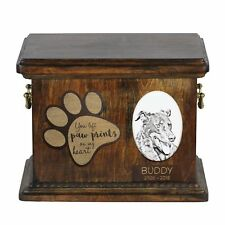 Beauceron - Urn for dog's ashes with ceramic plate and description Usa