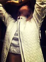 Weekend Max Mara White Quilted High Neck Vest Pockets 42 10 40 12 As New Italy