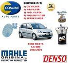 para Ford Fiesta 1.4 2002-2008 Filtro antipolen Aceite Aire COMBUSTIBLE + Bujías