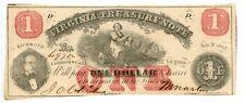 1862 $ 1 Richmond, Virginia. Treasury NoteCu