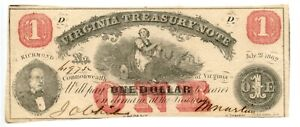 1862  $ 1  Richmond, Virginia.  Treasury NoteCU