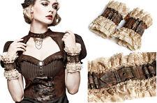 Manchettes bracelets ceinture gothique lolita steampunk cuir broderie Punkrave