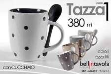 TAZZA DA LATTE COLAZIONE + CUCCHIAINO PORCELLANA POIS 380 ML SIZ 666995
