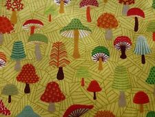 MUSHROOM FOREST Fabric Fat Quarter Cotton Craft Quilting Fungi Forest Friends