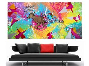 WEISE XXL Acryl BILD Abstrakt Gemälde Leinwand 75 x 150 auf Keilrahmen Nr.44/21