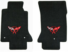 C5 Corvette Classic Loop Black 2pc Front Floor Mats Set - Red Crossed Flags Logo
