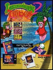 LEMMINGS TRIBES__Original 1994 Print AD / game promo /  Sega Genesis - Super NES