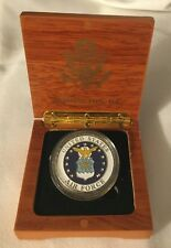 AIR FORCE CHALLENGE COIN in WOOD BOX GOLD EAGLE SEAL US DUTY HONOR COUNTRY USA
