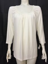 Talbots Woman New Size X  3/4 Sleeve Tee Off White Soft Knit Gathered Scoopneck