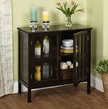 Accent Storage Cabinet w/ 2 Door 1 Adjustable Shelf Wood Black Chest Furniture