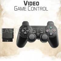 For Sony PS2 2.4G Wireless Twin Shock Game Controller Joystick Joypad Black