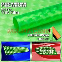 "12""x60"" Cateye Emerald Green Tint Headlight Taillight Fog Light Vinyl Film"