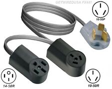 Y Adapter 10-50P Plug 10-50R & 14-50R Receptacle Dual Splitter 2 Add Stove Oven