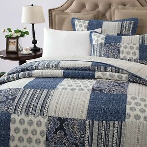 DaDa Bedding Cotton Bohemian Denim Blue Farmhouse Patchwork Floral Bedspread Set