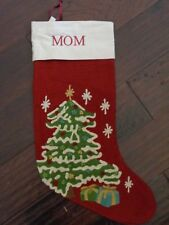 New Pottery Barn Monogram Mom Crewel Christmas Tree Stocking