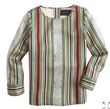 NWT $350 J Crew Collection IKAT STRIPE Tunic TOP Blouse Silk /Wool Size 2