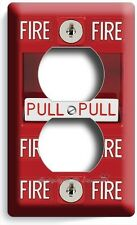 FIRE ALARM PULL DOWN DUPLEX OUTLET WALL PLATE COVER MAN CAVE GARAGE ROOM DECOR