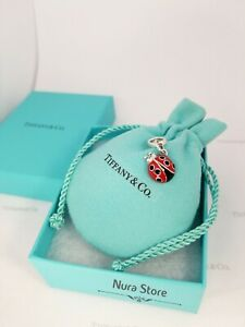 Tiffany & Co.  Ladybug charm in Sterling silver 925  red enamel RARE pendant