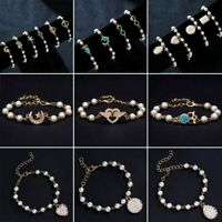 Fashion Women Crystal Pearl Love Heart Butterfly Moon Gold Bracelet Bangle Gift