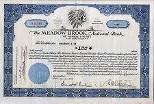 Meadow Brook National Bank Stock Certificate West Hempstead N.Y