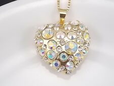Golden chain Fashion jewelry Cute inlay AB Crystal Heart Pendant Necklace #B