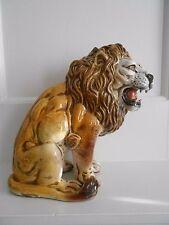 Vintage Terra Cotta Pottery Italy Lion Sculpture Hollywood Regency MCM