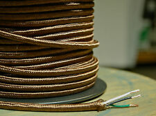 Brown Rayon Cloth Covered 3-Wire Round Cord, 18ga. Vintage Lamps Antique Lights