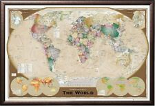 World Map Triple View Educational Office Print in Premium Rust Wood Frame 24x36