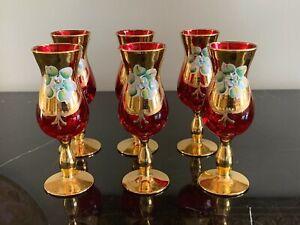 Vintage Venetian Murano Italy Blow Cordial Glasses Set of 6