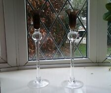 TWO Beautiful...CANDLE HOLDERS...bubble design...glass..EXCELLENT CONDITION.