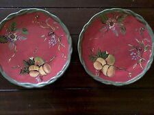 "Set of 2 TRACY PORTER Octavia Hill Red 11"" Dinner Plates Green Braided Rim XLNT"