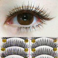 KM_ 10 Pairs Long Cross False Eyelashes Makeup Natural Fake Thick Eye Lashes E