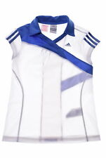ADIDAS Girls Polo Shirt Size 12 Small White Blue Polyester