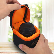 Black Padded Thick Camera Lens Bag Shockproof Pouch Case For DSLR Camera Lens W