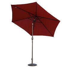 10ft Patio Parasol Umbrella Iron Tilt with Crank Garden Market Shade, Burgundy