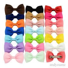 20Pcs Baby Kids Girls Hair Bows Band Boutique Alligator Clip Grosgrain Ribbon YM
