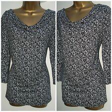 New Ladies Plus Size Black White Print Jersey Tunic Blouse with drape neck
