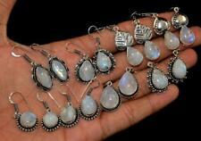 Rainbow Moonstone 20 pair Wholesale Lots 925 Sterling Silver Plated Earrings