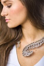 Statement Necklace Silver Feather Open Torque Necklace Pendant New Jewelry Style