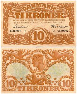 Denmark 10 Kroner P#31o(1) Series U (1943) Danmarks Nationalbank VF