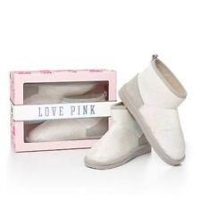 Victorias Secret Pink White Sequins Bling Fur Mukluks Boots NWT S 5-6