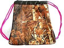 Explorer Tactical 13 inch Camo Pink trim Drawstring Backpack napsack gym bag