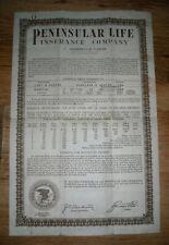 1936 Life insurance policy, Peninsular Insurance, Jacksonville, Fla.