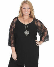 Plus Size Evening, Occasion Solid 3/4 Sleeve Tops & Blouses for Women