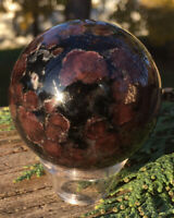 223.4g RARE NATURAL GARNET CRYSTAL MINERAL POLISHED HEALING SPHERE Reiki INDIA