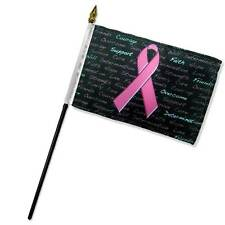 "Wholesale Lot of 6 Breast Cancer Pink Ribbon Black 4""x6"" Desk Table Stick Flag"